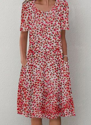Casual Floral Shirt Round Neckline A-line Dress (4074755)