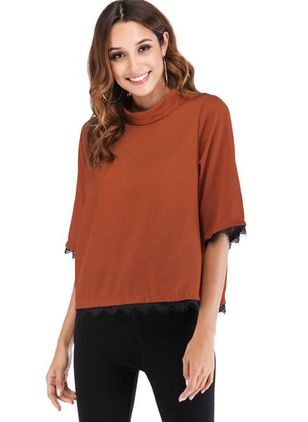 Color Block High Neckline 3/4 Sleeves Casual T-shirts