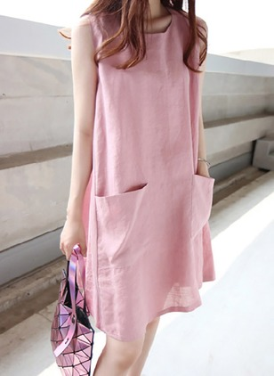 Solid Pockets Tank Above Knee Shift Dress