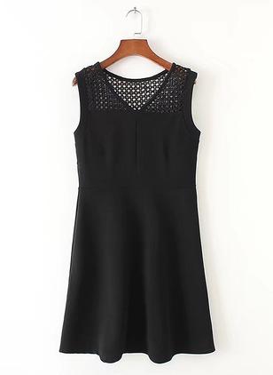 Cotton Solid Tank Sleeveless A-line Dress