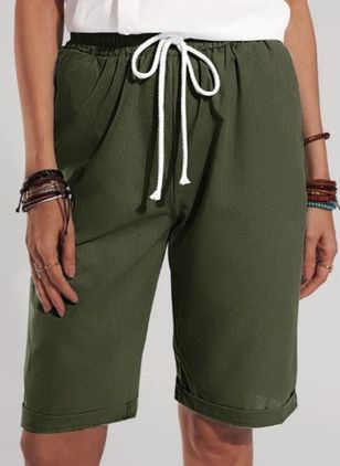 Casual Loose Pockets Mid Waist Polyester Shorts (147192267)