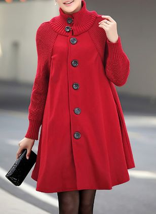 Long Sleeve Collar Buttons Coats