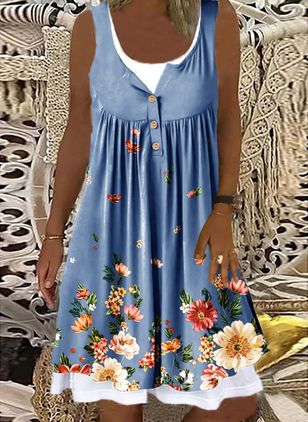 Casual Floral Tunic Round Neckline A-line Dress (147404733)