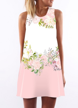 Floral Tank Sleeveless Mini A-line Dress