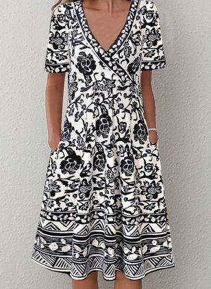 Casual Floral V-Neckline Knee-Length X-line Dress (146699688)