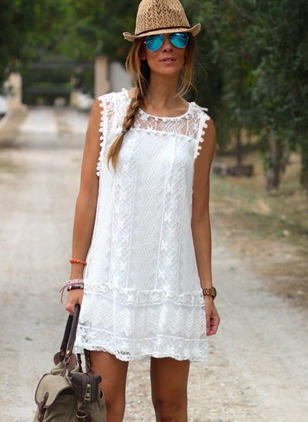 Solid Lace Cap Sleeve Shift Dress