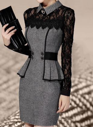 Elegant Collar Long Sleeve Above Knee X-line Dress (1353980)