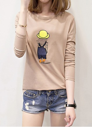 Cotton Polyester Character Round Neck Long Sleeve Casual T-shirts
