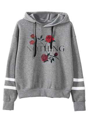 Floral Trendy Hooded None Sweatshirts
