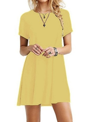 Polyester Solid Short Sleeve Above Knee Casual Dresses