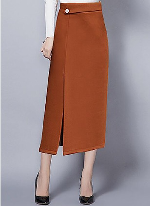 Wool Solid Mid-Calf Casual Buttons Zipper Skirts