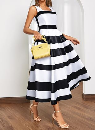 Chic Color Block Square Neckline Midi A-line Dress (1532308)