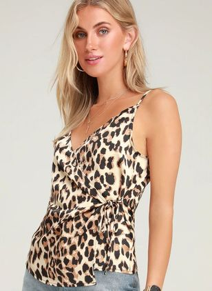 Leopard Sexy Camisole Neckline Sleeveless Blouses