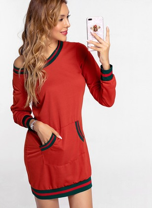 Color Block Pockets Sweater Long Sleeve Sheath Dress