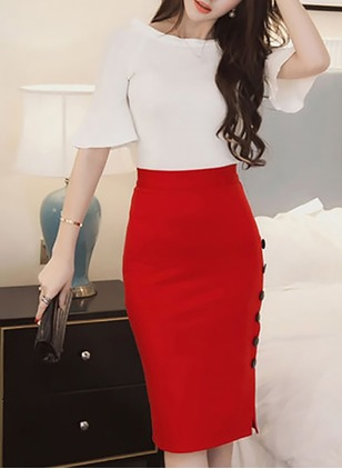Polyester Solid Knee-Length Casual Buttons Skirts
