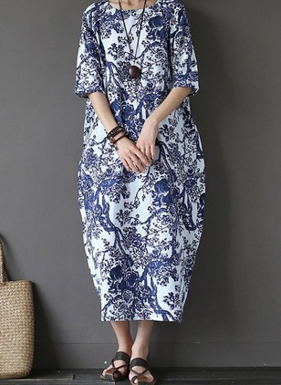 Floral Tshirt Half Sleeve Maxi Shift Dress