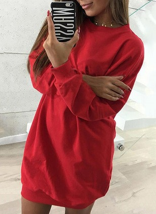 Solid Sweatershirt Long Sleeve Shift Dress