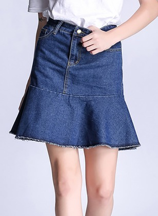 Denim Solid Above Knee Casual Buttons Zipper Skirts