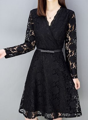 Solid Lace Long Sleeve Knee-Length X-line Dress