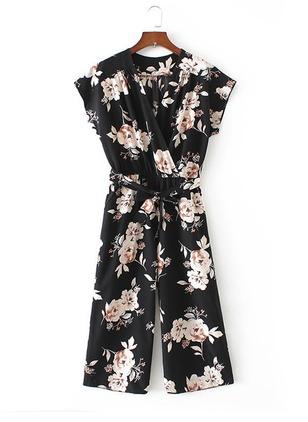 Polyester Floral Short Sleeve Jumpsuits & Rompers