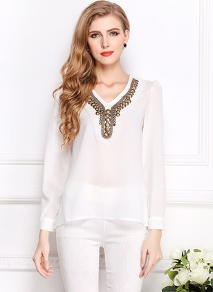 Color Block Casual Chiffon V-Neckline Long Sleeve Blouses