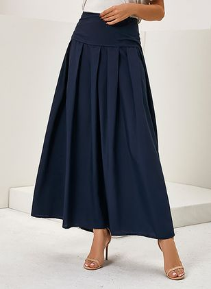 Solid Maxi Casual Pockets Skirts (122029288)