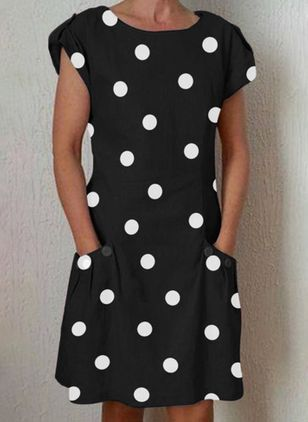 Casual Polka Dot Tunic Round Neckline Shift Dress (1509495)