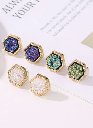 Casual Geometric No Stone Stud Earrings (147243792)