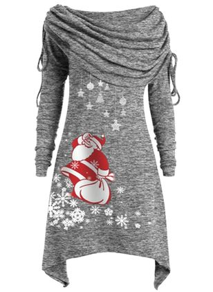 Christmas Animal Round Neckline Midi X-line Dress (1381846)
