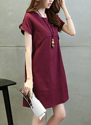 Cotton Solid Pockets Short Sleeve A-line Dress