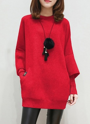 Polyester Round Neckline Solid Long None Sweaters