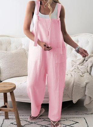 Casual Straight Pockets High Waist Polyester Pants Jumpsuits (146961468)