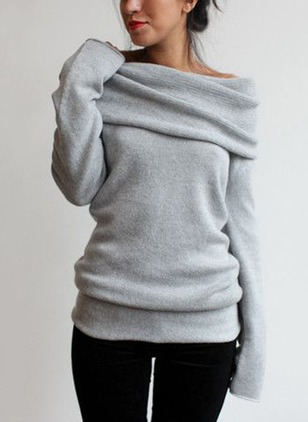 Cotton Boat Neckline Solid Loose Ruffles Others Sweaters