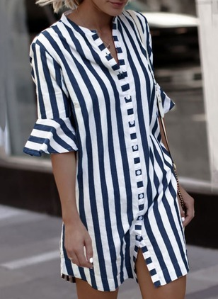 Cotton Stripe Half Sleeve Above Knee Dresses