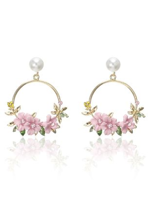 Casual Floral Gemstone Dangle Earrings (147243641)