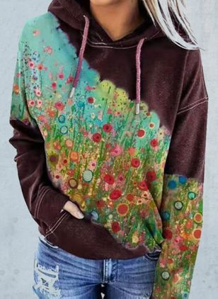 Floral Casual Hooded Pockets Sweatshirts (146861494)