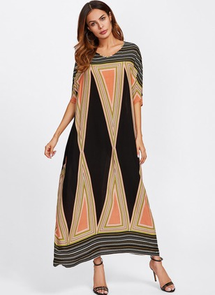 Color Block Half Sleeve Maxi Shift Dress