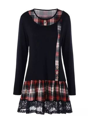 Casual Plaid Tunic Round Neckline Shift Dress (108088848)