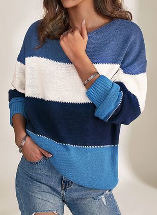 Round Neckline Color Block Casual Loose Short Shift Sweaters (1410051)