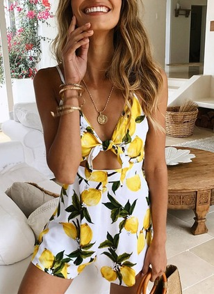 Polyester Floral Sleeveless Jumpsuits & Rompers