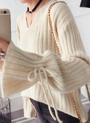 V-Neckline Solid Loose Regular Bow Shift Sweaters Sweaters