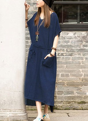 Solid Pockets Half Sleeve High Low Shift Dress