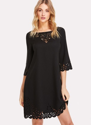 Solid Hollow Out Half Sleeve Shift Dress