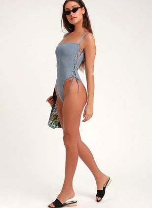 Halter Geometric One-piece Swimwear