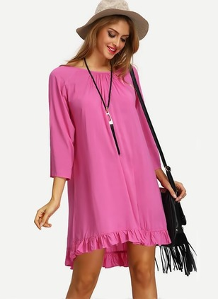 Solid Tassel 3/4 Sleeves Above Knee Shift Dress