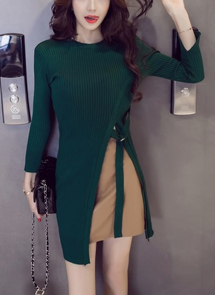 Color Block Wrap Long Sleeve Sheath Dress