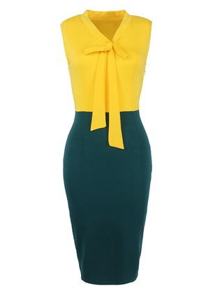 Solid Bow Pencil V-Neckline Bodycon Dress