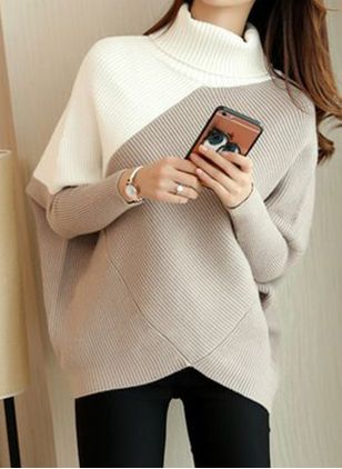 High Neckline Color Block Casual Loose Long Shift Sweaters (146891575)