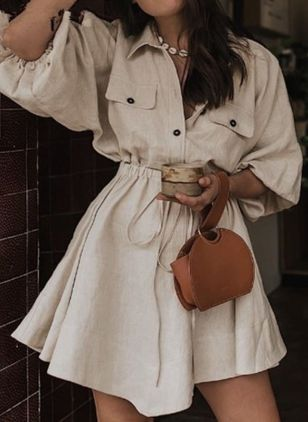 Solid Pockets Shirt Collar X-line Dress