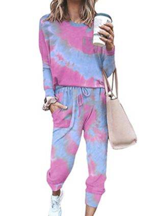 Round Neckline Color Block Pockets Pajamas (146761948)